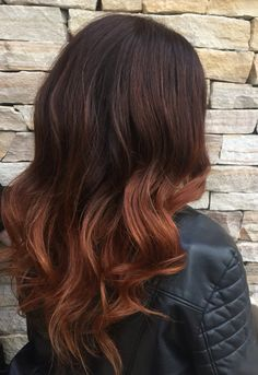 Burgundy into copper ombre.