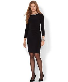 Lauren Ralph Lauren Three-Quarter-Sleeve Embellished Dress