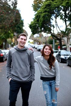 Mat in our waffle grey hoodie, Esther in our grey ribbed sweater. Designed in Melbourne. Ethically made in Indonesia.