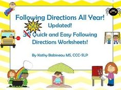 This easy to use Following Directions kit contains weekly, theme-based b/w coloring pages and accompanying lists of multi-step directions to be read aloud to students by a teacher or speech language pathologist.  This provides ready made lessons that address following directions, listening, understanding concept terminology and thematic vocabulary in a fun, easy to understand format!Updated to include 14 new bonus coloring pages with read aloud directions!Themes include:  Swing...