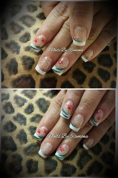 Acrylic nails with nail art. Nails By Ramona. Go Valencia Jaguars