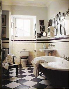 See all our stylish art deco bathrooms design ideas. Art Deco inspired black and white design. Bathroom Counter Decor, Art Deco Bathroom, Bathroom Tile Designs, Bathroom Ideas, 1920s Bathroom, Bathroom Laundry, Retro Bathroom Decor, 1920s Kitchen, Bathroom Canvas