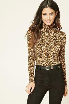 Cheetah Print Turtleneck Top