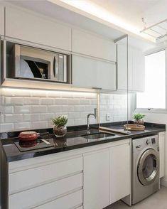 Home kitchen small kitchenettes 68 Ideas Kitchen Room Design, Laundry Room Design, Kitchen Decor, Kitchen Designs, Petite Kitchenette, Washing Machine In Kitchen, Cuisines Design, Apartment Kitchen, Small Apartments