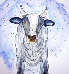 cow, art, watercolor, draw, illustration, vaca