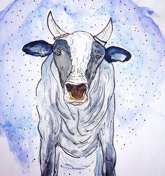 cow, art, watercolor, draw, illustration, vaca