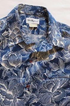 1d77323d85db vintage 70's RAI NANI hawaiian floral shirt blue aloha lightwt polyester  medium | eBay