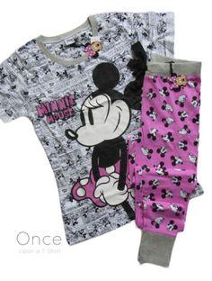 Primark-DISNEY-MINNIE-MOUSE-PINK-COMIC-T-shirt-lounge-pants-Pyjama-Set-PJs