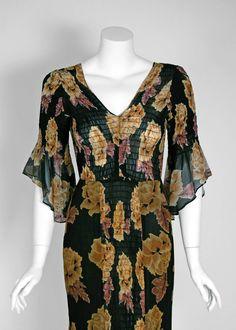 1970's Thea Porter Rose-Garden Floral Print Smocked Silk Bell-Sleeve Dress