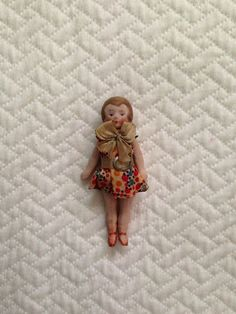 Tiny Antique Vintage Bisque Dollhouse Doll