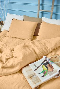 Give your bed an luxury makeover with linen bedding set. Warm colors – such as red, yellow and orange – can spark emotions such a comfort and warmth. Shop our products