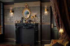 Love love the 'La Diva' collection of tiles/panels by Villeroy and Boch. so completely luxurious, they feel like they belong in Versailles or a Moroccan princess' palace apartment. Modern Country, Teen Star, Loft Stil, Gothic Bedroom, Decor Inspiration, Gold Interior, Expensive Houses, Villeroy, Elegant Homes