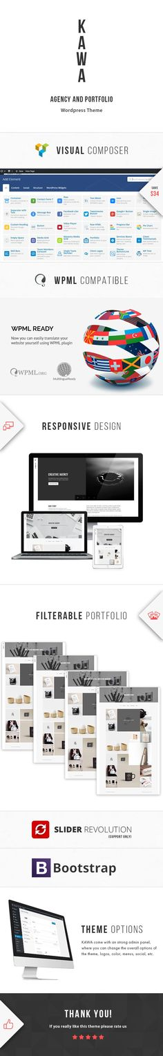 Download KAWA  Agency and Portfolio WordPress Theme (Portfolio)  Kawa is modern and exclusive Agency and Portfolio WordPress theme suitable for agencies and freelancers. KAWA was designed in best possible look with flat clean and clear design that will make your website difference from others. In line with Modern Design Trends Color Fresh and Dynamic Creative  Detail Layouts with elegant look! This one will be an amazing choice!  Please use this email for item Support and Help…