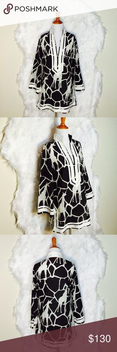 """Tory Burch Rare Griraffe Print Tunic Such a unique print From Tory Burch brown giraffe print tunic, white twill trim & side zip closure. (it has a little tiny spot show in the 4th photo but it will remove). Laid flat across @ bust: 19"""", length: 29"""". NWOT Tory Burch Tops Blouses"""