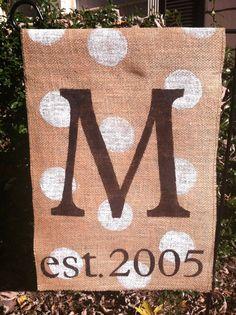Established Burlap Garden Flag Monogram by ModernRusticGirl, $22.00