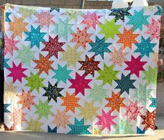 I finished the top of my Interlocking Stars quilt today! Just in time so that I can count it as a 2011 finish. As you know I used my favorit... Star Quilt Blocks, Star Quilts, Scrappy Quilts, Baby Quilts, Quilting Tips, Quilting Tutorials, Quilting Projects, Quilting Designs, Sewing Projects