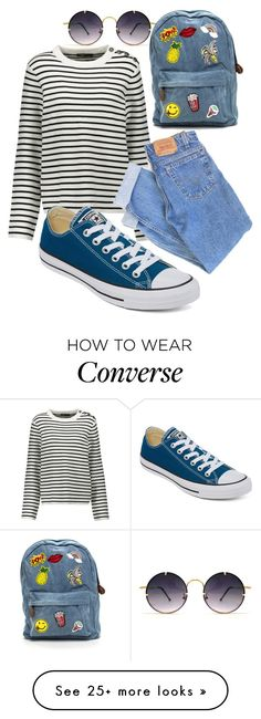 """converse: Blue Lagoon"" by haylee-borthwick on Polyvore featuring Spitfire, Maje, Converse and Levi's"