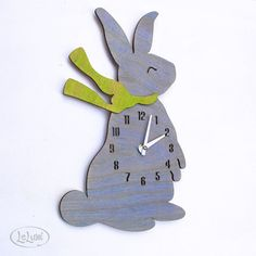 The Baby Bunny in Baby Blue designer wall mounted clock by LeLuni. Baby Decor, Nursery Decor, Baby Bunnies, Bunny, Cute Hedgehog, Diy Clock, Wooden Clock, Welcome Baby, Happy Baby