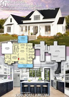 Plan New American Farmhouse Plan with Massive Upstairs Expansion Potential, . - Plan New American Farmhouse Plan with Massive Upstairs Expansion Potential, - The Plan, How To Plan, Farmhouse Layout, Modern Farmhouse Plans, Farmhouse House Plans, Craftsman Farmhouse, Southern House Plans, Southern Homes, Country Homes