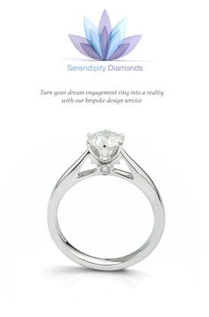 Turn your dream engagement ring into a reality with our bespoke design service available at Serendipity Diamonds. Featured ring styled with small #heart shaped cut-outs within both shoulders either side of a classic six claw round brilliant cut solitaire setting.