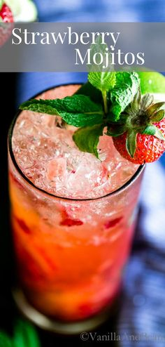 Best Comfort Foods SO refreshing juicy Food & Drink Healthy Snacks Nutrition Cocktail Recipes SO refreshing juicy and minty! You're going to love this Strawberry Mojito! Strawberry Cocktails, Strawberry Mojito, Mint Mojito, Mojito Cocktail, Party Drinks, Fun Drinks, Alcoholic Beverages, Cold Drinks, Refreshing Cocktails