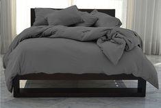Shop Dark Gray Duvet Cover by AanyaLinen. This Dark Gray Duvet Cover helps to make your Ambiance so wonderful & colorful. Dark Grey Bedding, Grey Duvet, Grey Bedroom Decor, Blue Bedroom, Bedroom Ideas, Bedroom Inspiration, Master Bedroom, Bedding Shop, Dorm Bedding