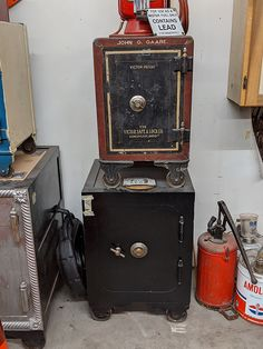 This unique collection of antique safes is for sale. Take a look at this amazing collection of cannonball safes. Small Inground Pool, Antique Safe, Personal Safe, Vault Doors, Nickel Plating, Restoration, Industrial, Floor, Antiques