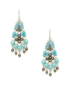 Turquoise, Pyrite, & Mother Of Pearl Chandelier Earrings