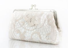 Bridal Champagne Lace Ivory Satin Clutch Silver Frame by ANGEEW, $70.00