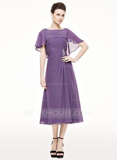 A-Line/Princess Scoop Neck Tea-Length Chiffon Mother of the Bride Dress With Ruffle Beading Sequins (008062543) - JJsHouse