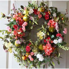 Summer Wreath Pears Berries Roses Hydrangea Large Wreath, Fall Door... ($100) ❤ liked on Polyvore featuring home, home decor, floral decor, hydrangea wreath, spring flower wreaths, autumn door wreath, fruit wreath and hydrangea door wreath