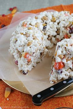 Halloween Popcorn Cake | Taste and Tell - Does not need to be halloween...can be a fall item in general.