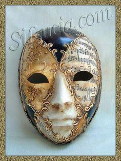 Roman Face Brown/Black Music - Handmade Venetian Masks from Venice, Italy - 1001 Venetian Masks