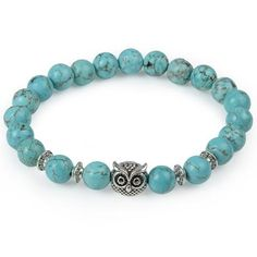 Torquoise Owl Head Natural Stone Bracelet