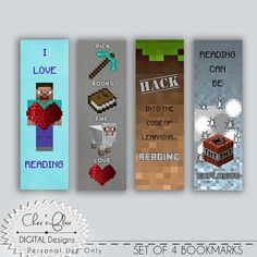 MINECRAFT BOOKMARKS  Digital and Printable  by DigitalPackages