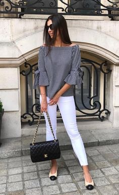 Best 12 Neb_Chic_Fashions – Off shoulder striped top w/ wrist tie – SkillOfKing. Stylish Work Outfits, Classy Outfits, Casual Outfits, Cute Outfits, Casual Chic, Casual Wear, Blouse Styles, Blouse Designs, Pinterest Fashion