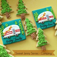 Sweet Jenny Series – Camping: Pinetrees and Trailers camping theme decorated cookies by sweet jenny belle Camping Cookies, Cookie Images, Fancy Cupcakes, Camping Theme, Camping Ideas, Camping Hacks, Cut Out Cookies, Fish Cookies, Cookie Designs