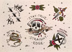 Today is National Edge Day! Finished my first ever flash sheet to celebrate! I've been straight edge for a couple years now, and it's one of the best decisions I've ever made. It's okay to not drink, or consume any kind of body/mind altering. Pin Up Tattoos, Dream Tattoos, Tattoos For Guys, Son Tattoos, Straight Edge Tattoo, Southern Tattoos, Tattoo For Son, Traditional Tattoo Flash, Tattoo Flash Art