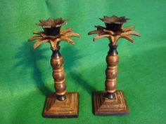 Casablanca Palm Tree Candlesticks. A pair of candlesticks ideal for a Gentleman's desk in his den or retreat, where he can listen to music or the wireless by candlelight without disturbance. 8.5cm x 8.5cm x 21cm.  Price includes UK postage, please e-mail for international postage details.  £29.49