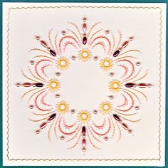 ED106 Mandala on Craftsuprint designed by Emy van Schaik - made by - This mandala is stitched with beads.I have used, pearls and rice beads. You can use it for any occasion. Made this one for Christmas. - Now available for download!