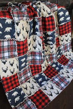 Rag Quilt Cabin Quilt Plaid Deer ThrowRed And Black Plaid