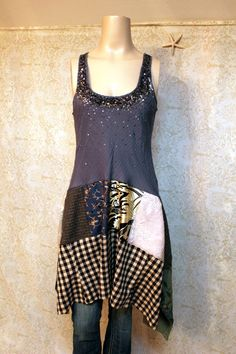 Boho Tank Top Shirt, Shabby Chic Romantic, Bohemian Junk Gypsy Style, Mori Girl, Lagenlook