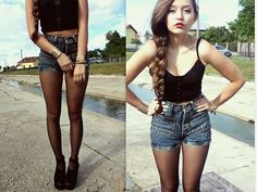 Le Shorts Again (by Patricia Boks)  I like this look:  Red lips x black bra top x high waist denim shorts and 15denier stockings