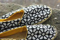 Selbstgemacht: Espadrilles in schwarz-weiß & gelb   tagtraeumerin