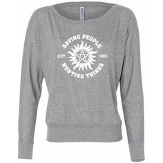 15 Off Saving People Hunting Thing Long Sleeve Slouchy Supernatural... ($17) ❤ liked on Polyvore featuring tops, black, women's clothing, off shoulder slouchy top, long-sleeve shirt, long sleeve tops, long sleeve shirts and zip shirt