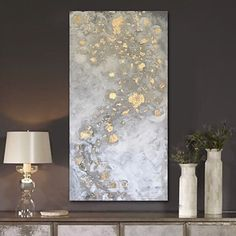 "'SORCERER' original abstract painting. Magical. Beautifully neutral and monochromatic with gold leaf accents. This painting offers intriguing depth and dimension and is so captivating when it captures and plays with the light. . As with most of my work this painting can be displayed from any direction. 18x36"" acrylic on gallery-wrapped canvas. . Available on www.linneaheide.com . . . . . #art #artwork #painting #interiordesign #chairish #artforsale #goldleafpainting #elledecor #artgallery # Gold Leaf Art, Gold Art, Nyc Art, Modern Art Paintings, Abstract Canvas Art, Modern Artists, Abstract Styles, Plays, Wrapped Canvas"