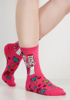 Amor to Love Socks. Love is in the flair when you sport these hot pink socks! #pink #modcloth