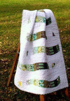 Handmade Modern Quilt brown blue green and white by TwiggyandOpal, $99.00 #hmcspooky #handmadebot #boebot