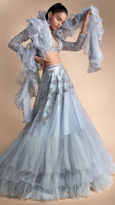 Powder Blue Lehenga Set With Embroidered Net Fabric Online - Kalki Fashion Lehenga Dupatta, Lehenga Skirt, Blue Lehenga, Indian Gowns, Indian Attire, Indian Outfits, Pakistani Casual Wear, Indian Bridal Wear, Indian Wear