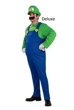 Now you can be one of everyone's favorite video game plumbers when you dress up as Luigi, from the Super Mario Bros, this Halloween.  This officially-licensed Super Mario Luigi Hallowene costume is hilarious, and faithful to the original Nintendo Superheroes.   Now you can snake a drain, or pounce on a Kooba when you wear this Luigi Halloween costume.